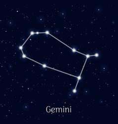 Sign zodiac gemini night sky background vector