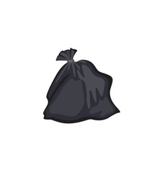 simple black garbage bag filled with trash closed vector image