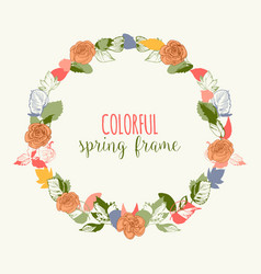 Spring round frame in bright colors flowers and vector