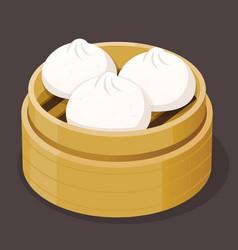 steamed bun dim sum vector image