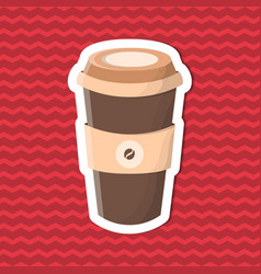 Sticker of coffee to go on red striped background vector