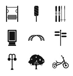 street gym icons set simple style vector image