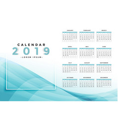 stylish blue 2019 calendar design vector image