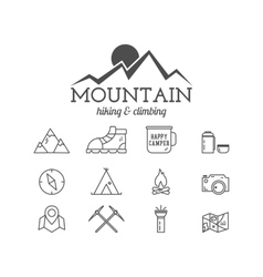 Summer mountain camp badge logo template and vector