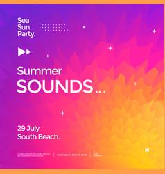 Summer sounds electronic music fest poster design vector