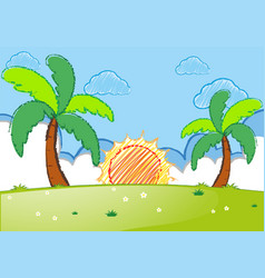 sunset scene with coconut trees and field vector image
