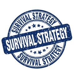 Survival strategy blue grunge stamp vector