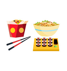 takeaway chinese food box noodles vector image