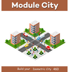 Town district city in isometric landscape vector
