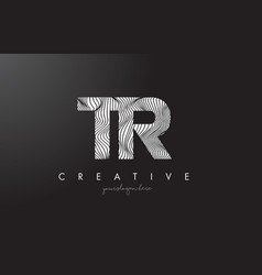 Tr t r letter logo with zebra lines texture vector