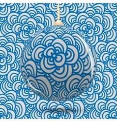 Transparent Christmas ball on background with blue vector image