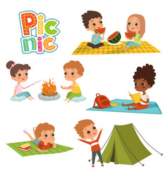 various pictures of kids male and female have a vector image