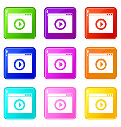Video player icons 9 set vector