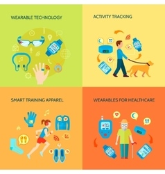 Wearable Gadgets Concept Icons Set vector image