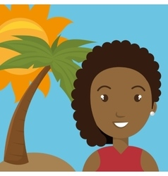 woman palm sun travel vector image