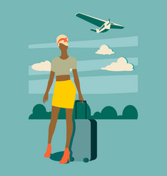 Woman traveler silhouette standing with baggage vector