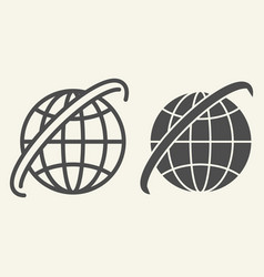 world map line and glyph icon globe vector image