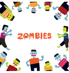 zombie cartoon characters frame vector image