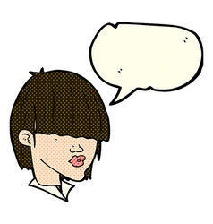 cartoon fashion haircut with speech bubble vector image vector image