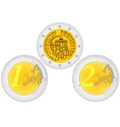 Metal coins euro vector image vector image