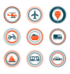 set of vintage transportation stamps icons vector image