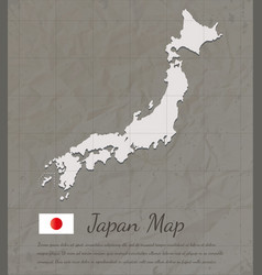 vintage japan map paper card map silhouette vector image