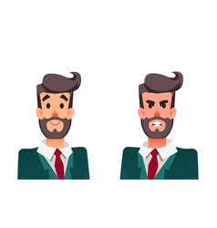 calm and angry cartoon man office manager vector image
