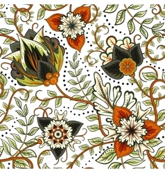 floral seamless pattern with fantasy vector image