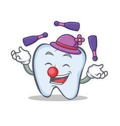 Juggling tooth character cartoon style vector