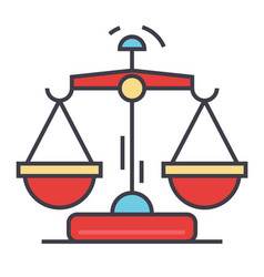 law and justice scales concept line icon vector image vector image