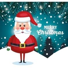 santa character christmas snowfall and pine design vector image vector image