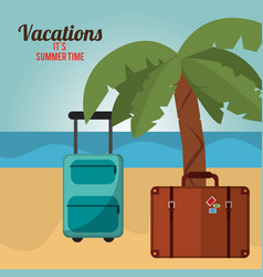 vacations summer time palm tree bagagge beach vector image vector image