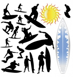 wave surfing and sun vector image vector image