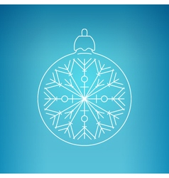 Christmas Ball with Snowflake on a Blue Background vector image