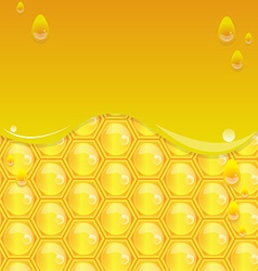 Glossy yellow background with honeycomb2 vector image vector image
