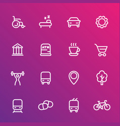 line icons set for map legend signatures vector image vector image