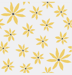 seamless floral pattern with yellow flowers on vector image