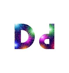 Set of letters firework D vector image