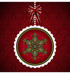 Christmas card with hanging new year ball vector image vector image