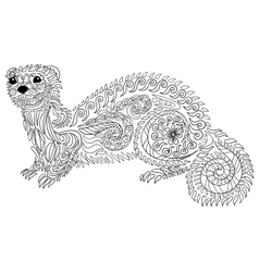 Hand drawn ferret with high details vector