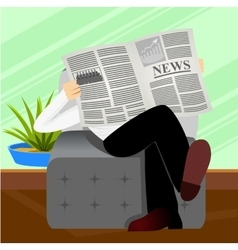 Man reading newspaper vector