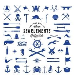 Vintage Sea or Nautical Icon Elements Set vector image vector image