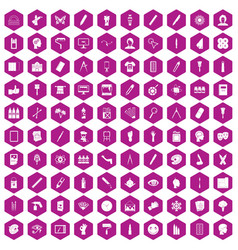 100 paint icons hexagon violet vector