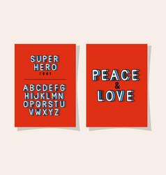 3d peace and love lettering and alphabet on red vector image