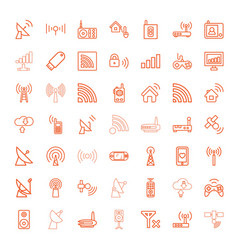 49 wireless icons vector image