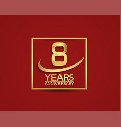 8 years anniversary with square and swoosh golden vector