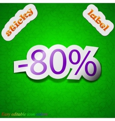 80 percent discount icon sign Symbol chic colored vector