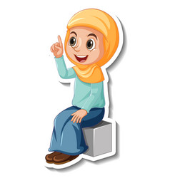 A sticker template with muslim girl cartoon vector