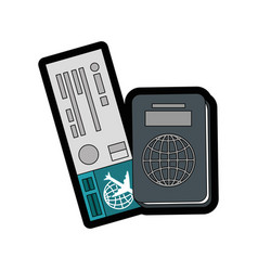 Airplane ticket and passport icon vector