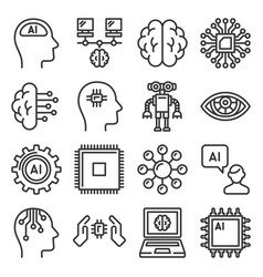 artificial intelligence icons set ai robot line vector image
